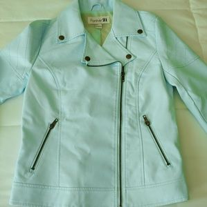 Forever 21 mint green faux leather jacket size s